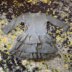 Nununu gray over dye tiered long sleeve dres